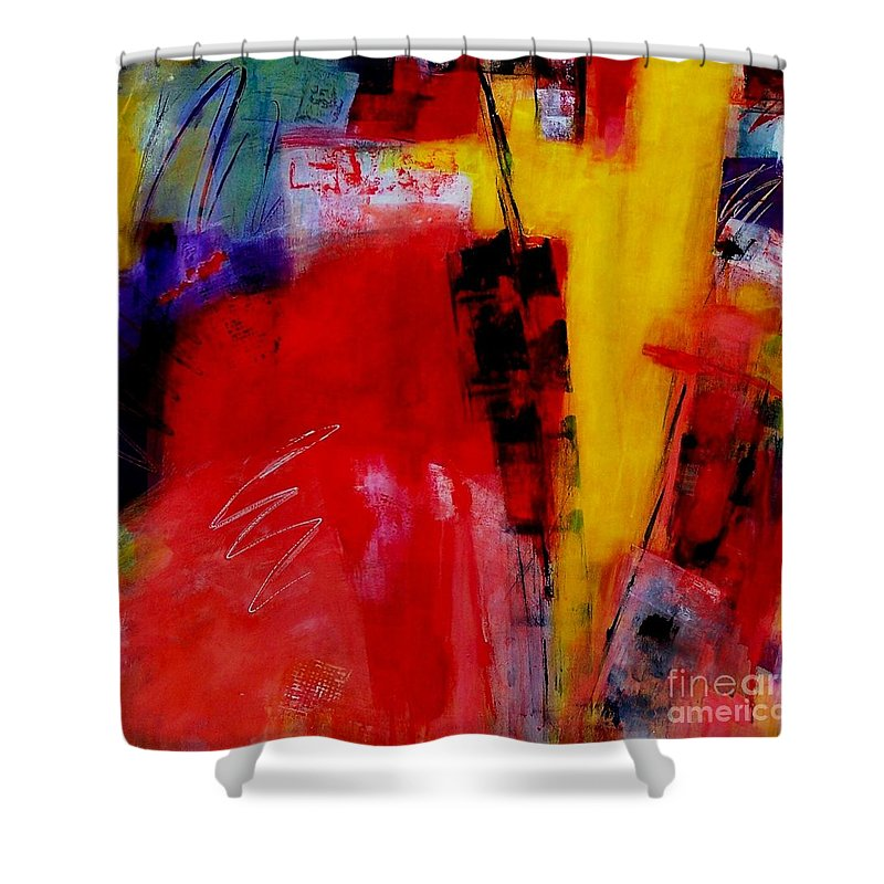 Abstract Expressionism Shower Curtain featuring the painting Free Spirit 006 by Donna Frost