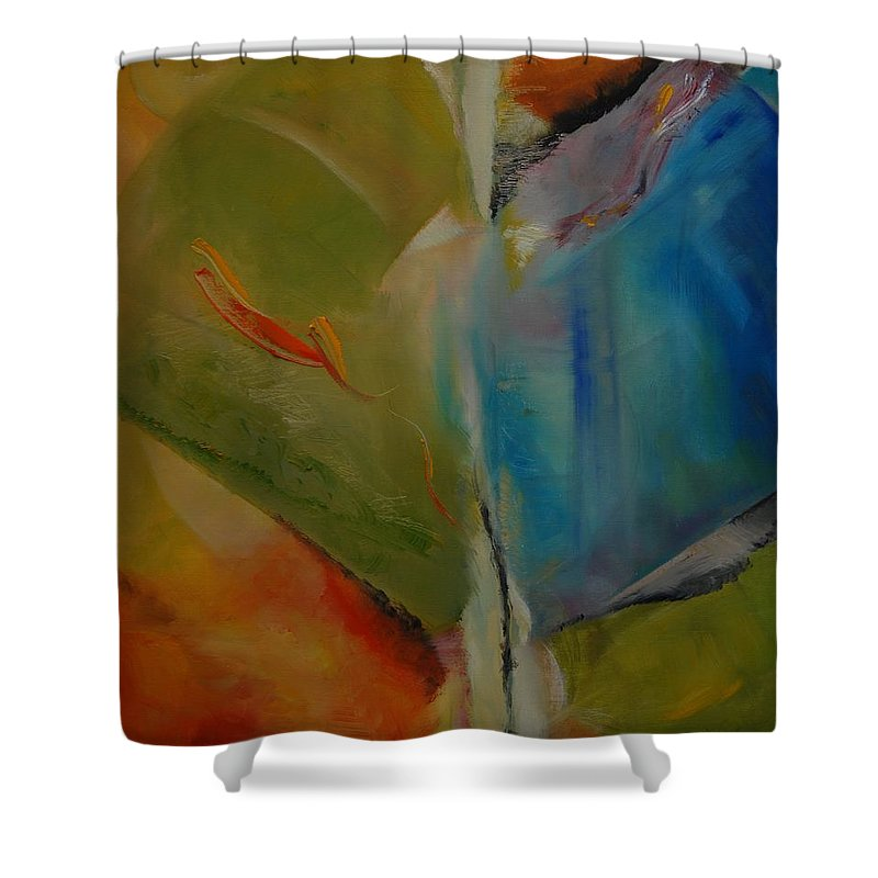 Abstract Shower Curtain featuring the painting Free To Go by Clari Netzer