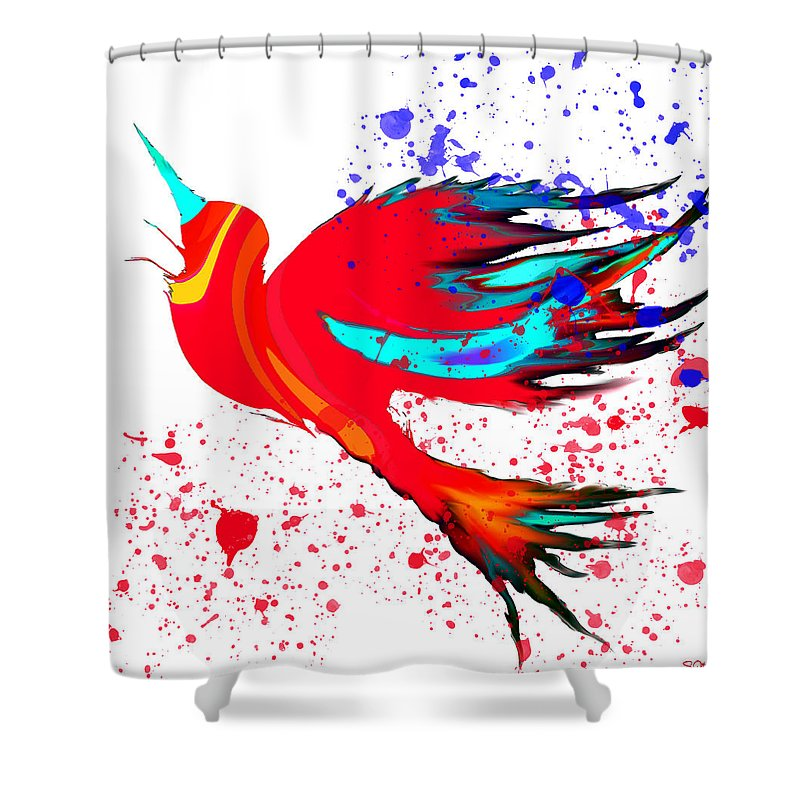 Bird Shower Curtain featuring the digital art Free To Soar Higher by Abstract Angel Artist Stephen K