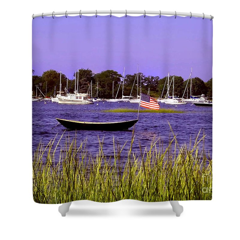 Oceans Shower Curtain featuring the photograph Freedom Bristol Harbor Rhode Island by Tom Prendergast