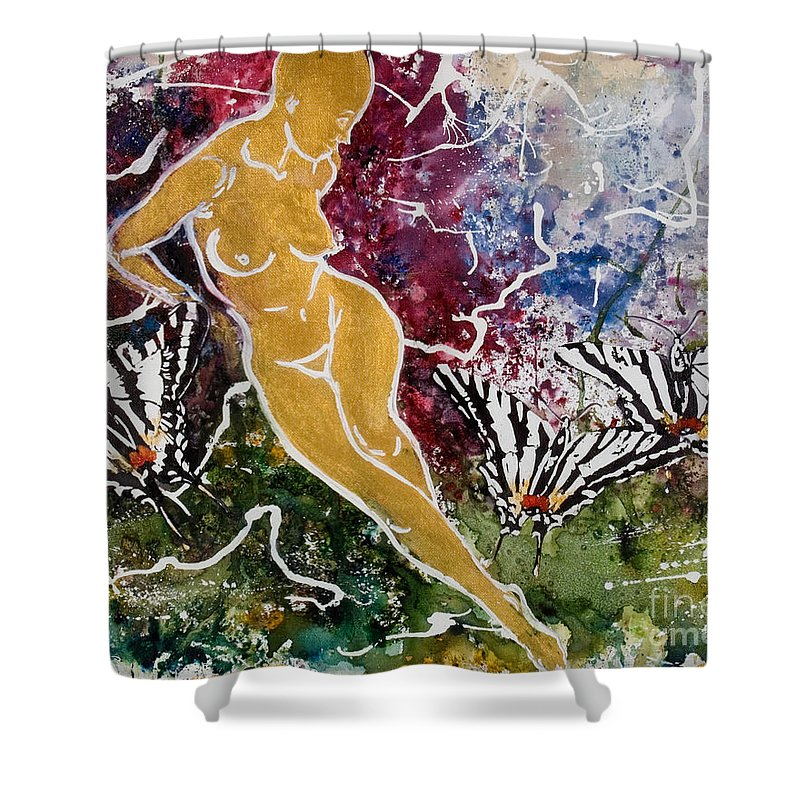 Nude Shower Curtain featuring the painting Freedom by Elisabeta Hermann