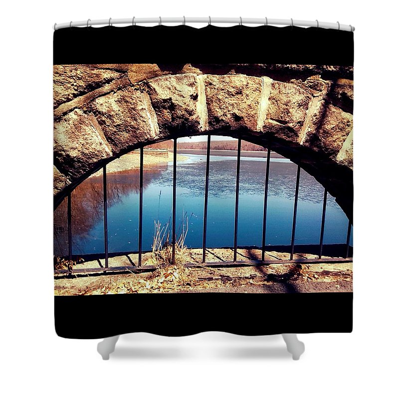 Abstract Shower Curtain featuring the photograph Freedom Is Breaking Down The Walls by Amy-Elizabeth Toomey