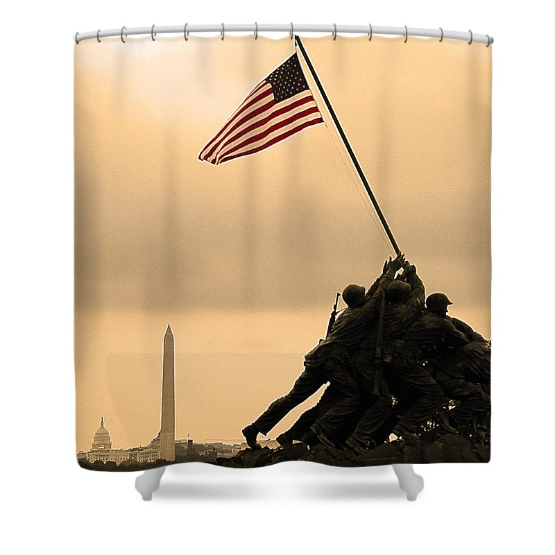Marine Corps Memorial Shower Curtain featuring the photograph Freedom by Mitch Cat