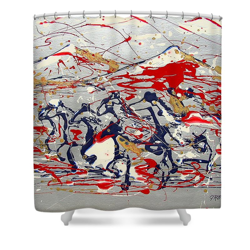 Freedom On The Open Range Shower Curtain featuring the painting Freedom On The Open Range by J R Seymour