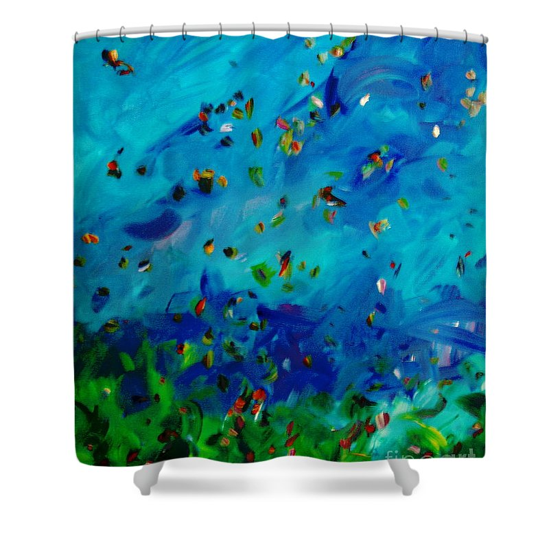 Landscape Shower Curtain featuring the painting Freelancing by Reina Resto