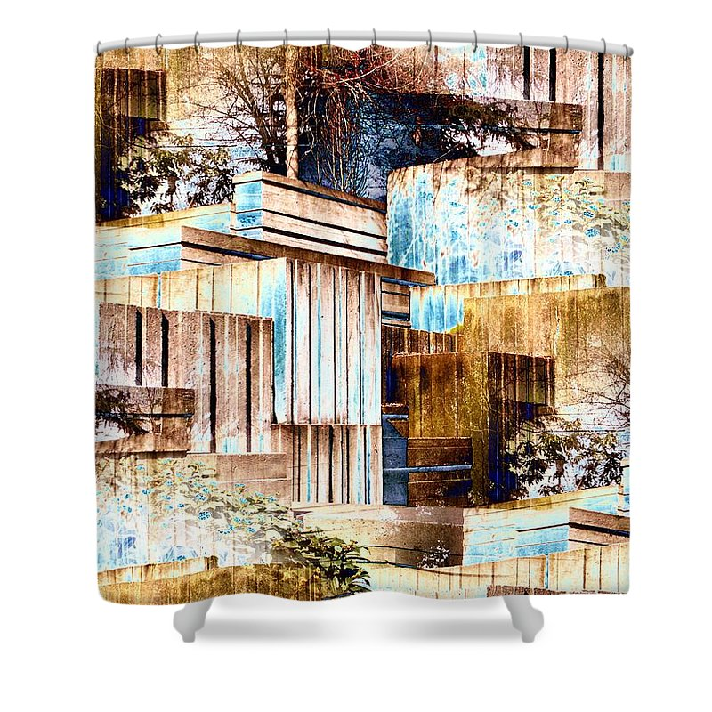 Seattle Shower Curtain featuring the digital art Freeway Park by Tim Allen