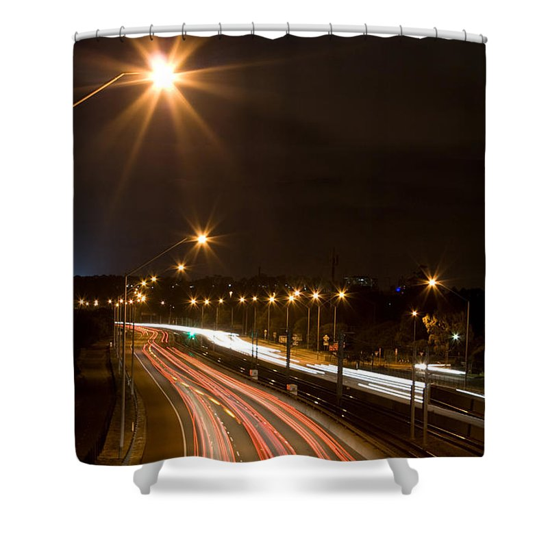 Cars Shower Curtain featuring the photograph Freeway Streakers by Kym Clarke