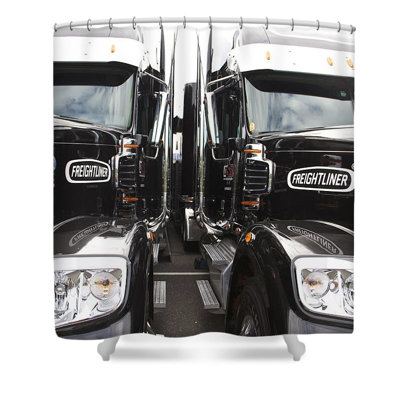 Freightliner Black Semis Trucks Shower Curtain featuring the photograph Freightliner by Alice Gipson