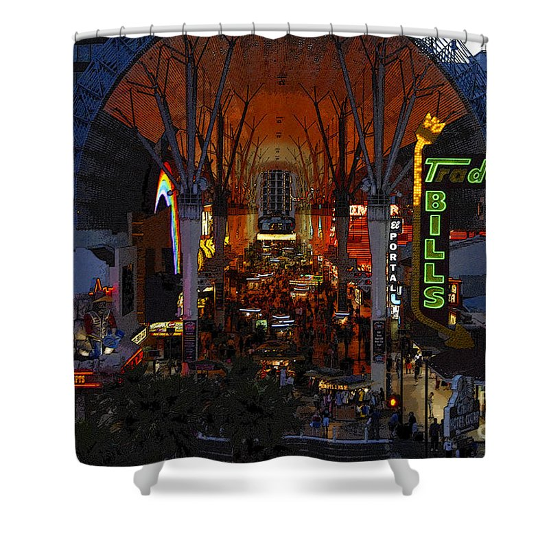 Art Shower Curtain featuring the painting Fremont Street Nevada by David Lee Thompson