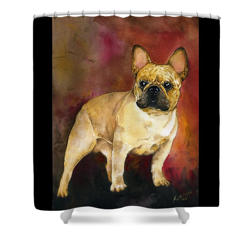 French Bulldog Shower Curtain featuring the painting French Bulldog by Kathleen Sepulveda