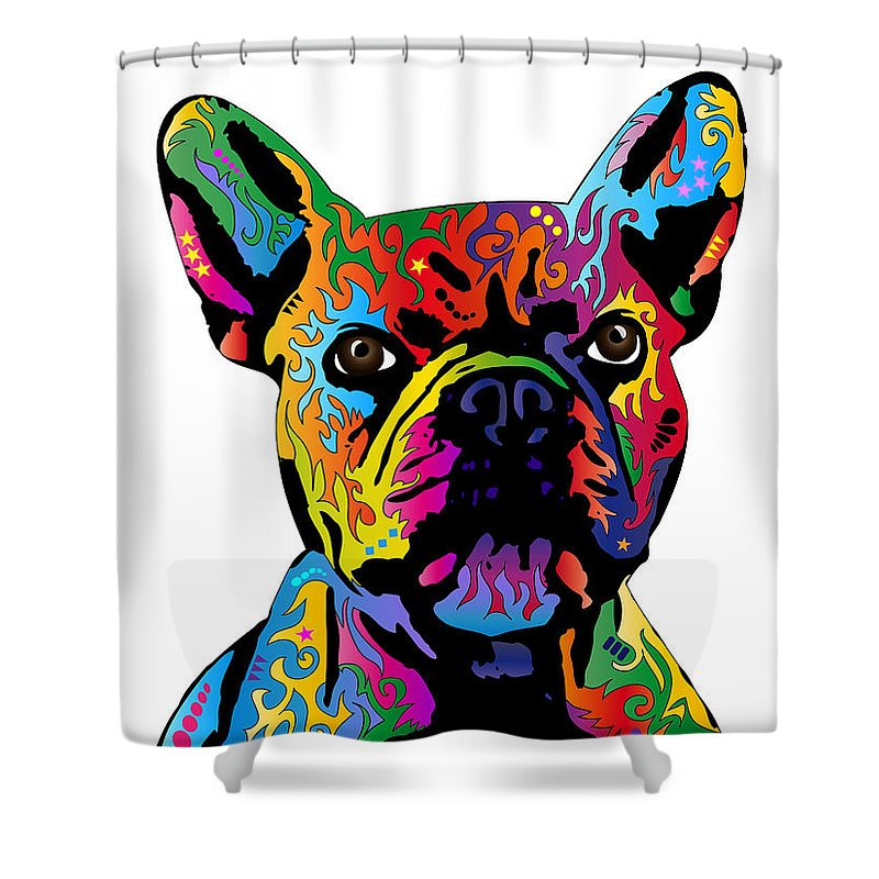French Bulldog Shower Curtain Featuring The Digital Art By Michael Tompsett