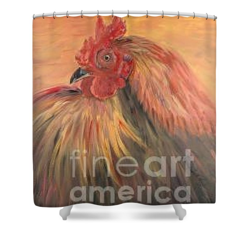 Rooster Shower Curtain featuring the painting French Country Rooster by Nadine Rippelmeyer
