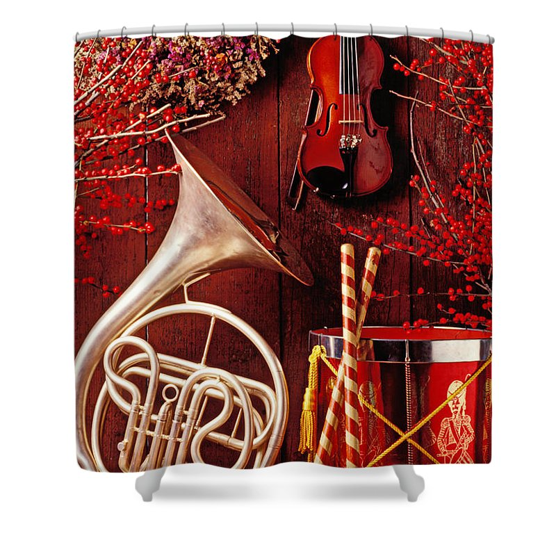 Violin Shower Curtain featuring the photograph French Horn Christmas Still Life by Garry Gay