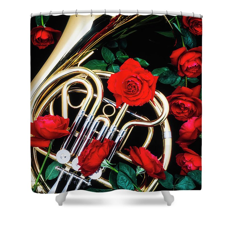French Shower Curtain Featuring The Photograph Horn With Red Roses By Garry Gay