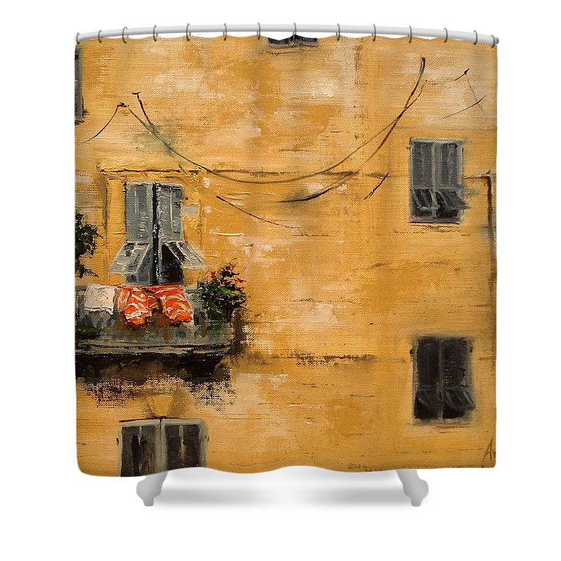 French Shower Curtain featuring the painting French Laundry by Barbara Andolsek