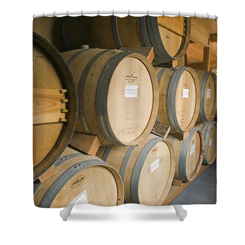 Medium Group Of Objects Shower Curtain featuring the photograph French Oak Barrels Of Wine At Midnight by Rich Reid