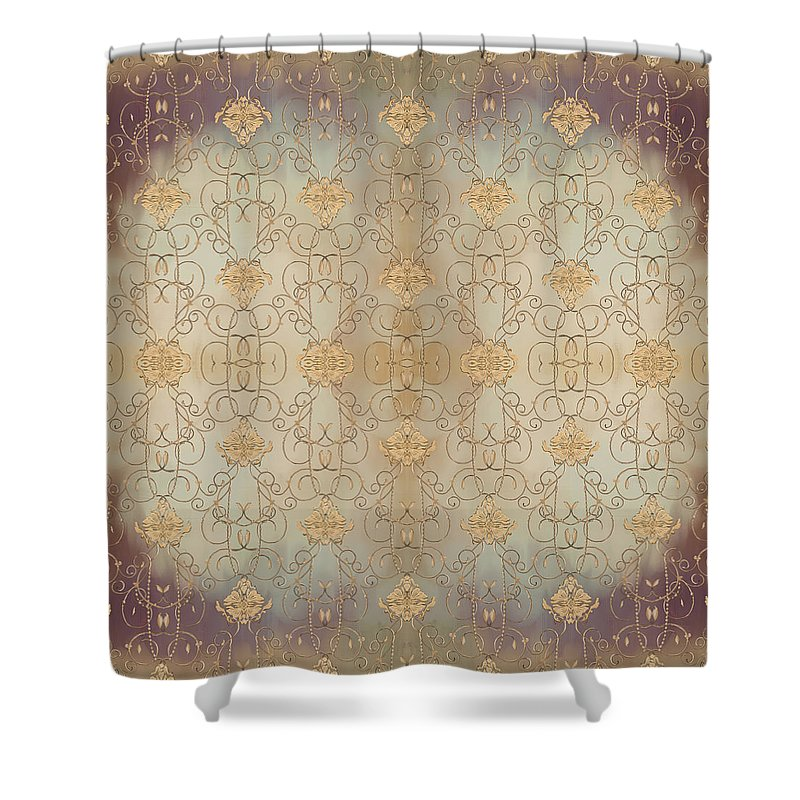 French Shower Curtain Featuring The Painting Parisian Damask Swirl Vintage Style Wallpaper By Audrey Jeanne