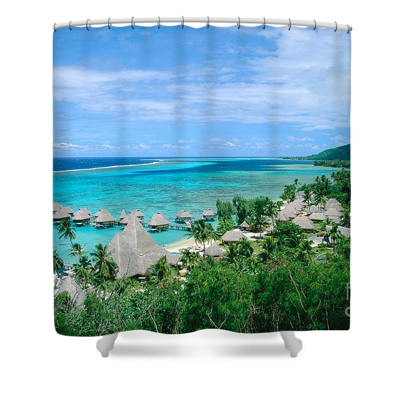 Accommodation Shower Curtain featuring the photograph French Polynesia, Moorea by Kyle Rothenborg - Printscapes