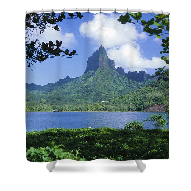 Afternoon Shower Curtain featuring the photograph French Polynesia, Moorea by Ron Dahlquist - Printscapes