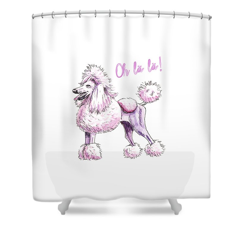 Poodle Shower Curtain Featuring The Painting French Oh La By Charlie OShields