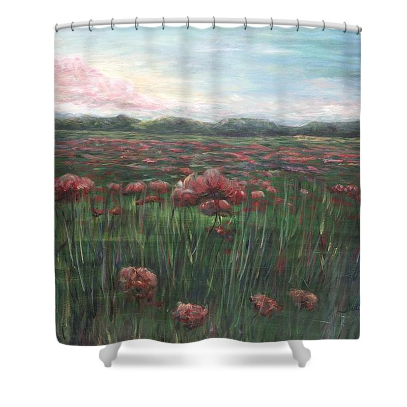 France Shower Curtain featuring the painting French Poppies by Nadine Rippelmeyer