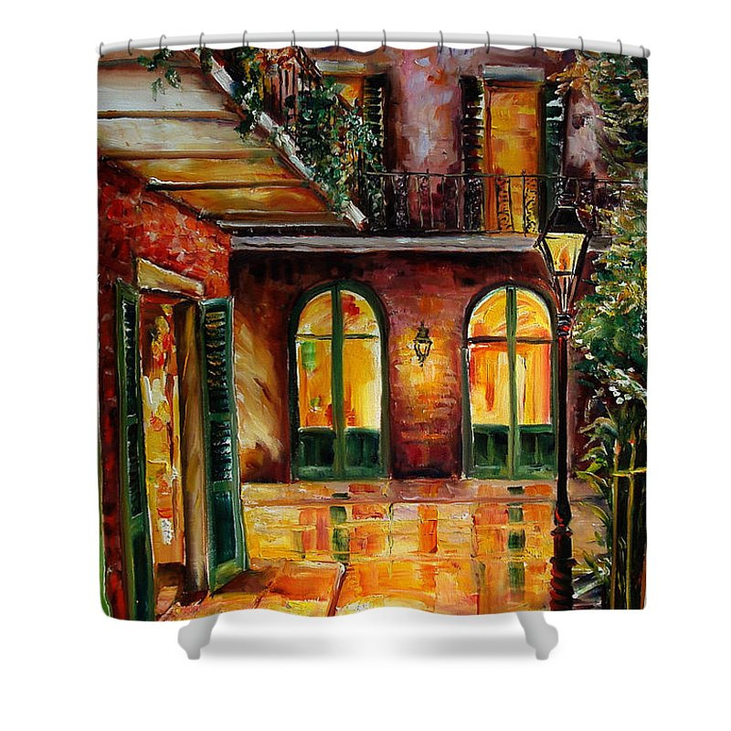 New Orleans Shower Curtain featuring the painting French Quarter Alley by Diane Millsap