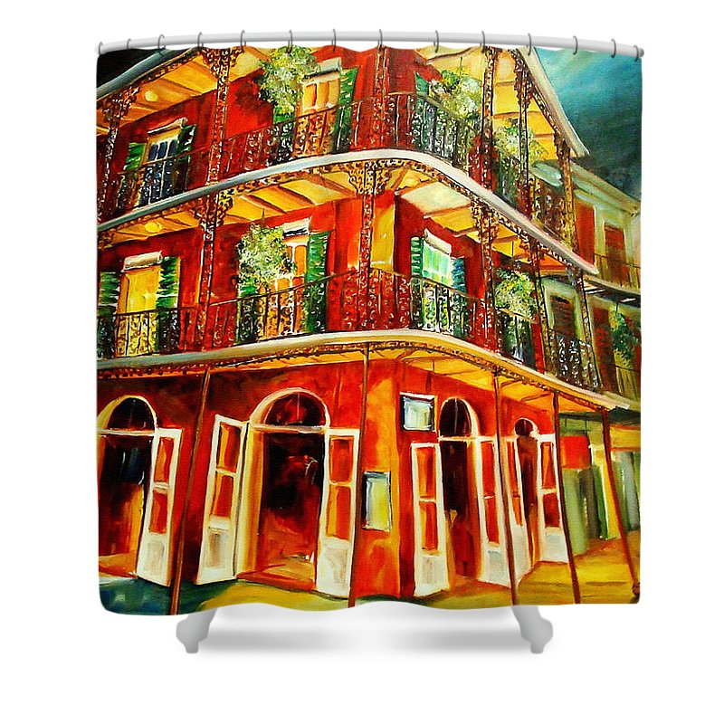 New Orleans Shower Curtain featuring the painting French Quarter Corner by Diane Millsap