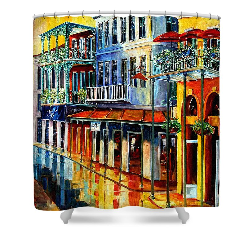 New Orleans Paintins Shower Curtain featuring the painting French Quarter Sunrise by Diane Millsap