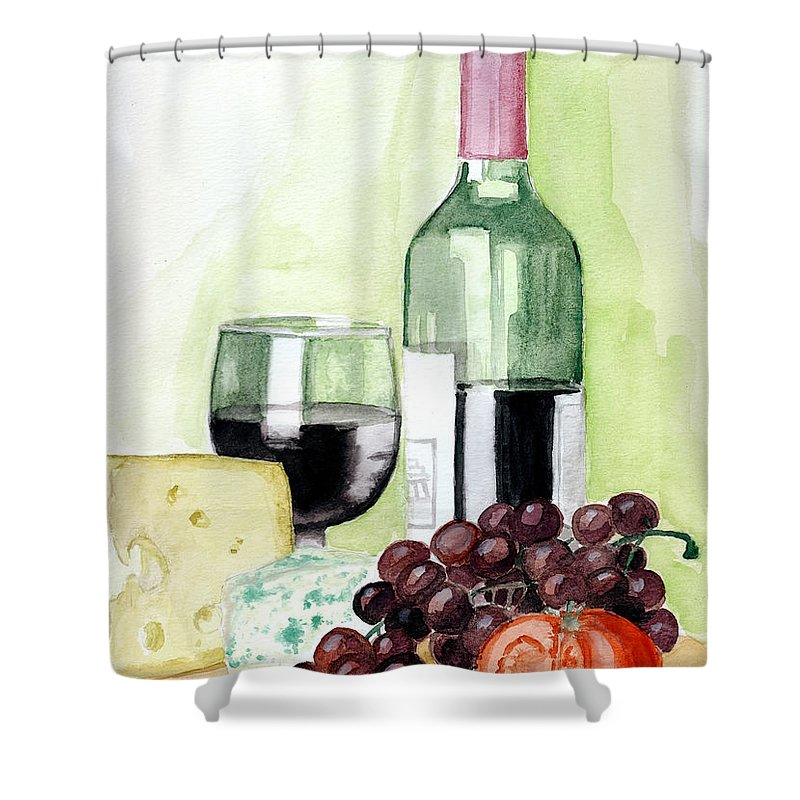 Wine Shower Curtain featuring the painting French Tradition by Alban Dizdari