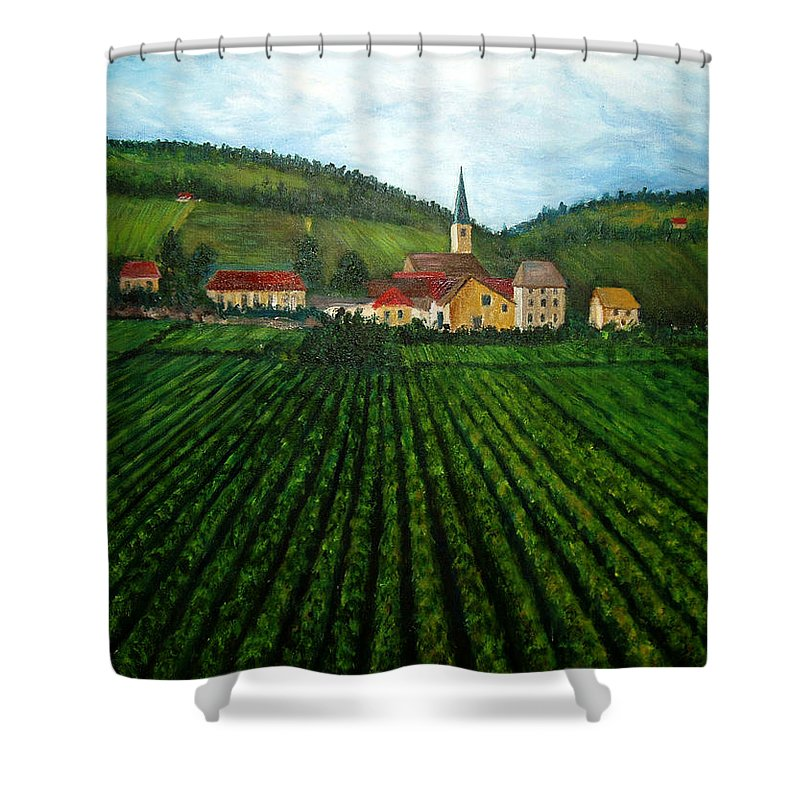 Acrylic Shower Curtain featuring the painting French Village In The Vineyards by Nancy Mueller