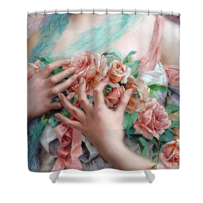 French Shower Curtain Featuring The Painting Woman Holding Roses Vintage By Tina Lavoie