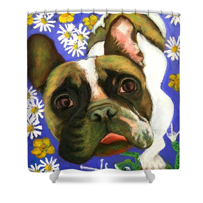 Pet Portrait Shower Curtain featuring the painting Frenchie Plays With Frogs by Minaz Jantz