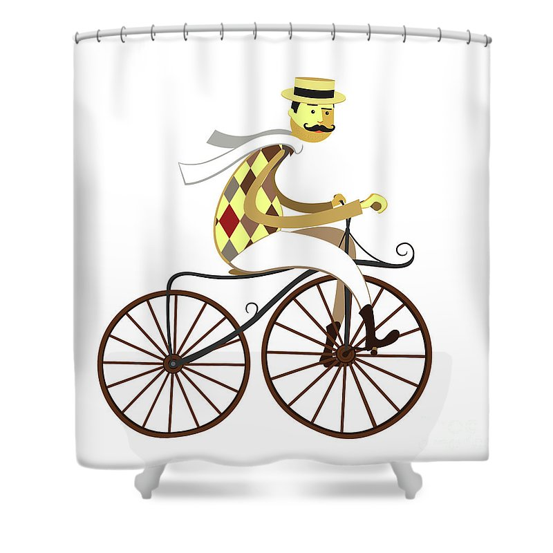 Bike Shower Curtain Featuring The Drawing Frenchman Cyclist Retro Bicycle Isolated On White Background By Mykola