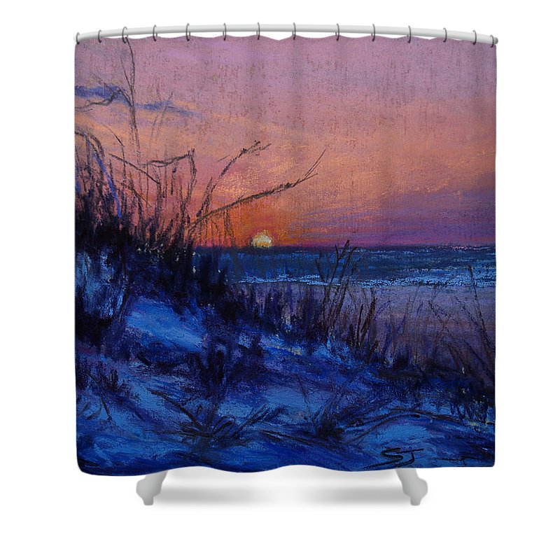 Landscape Shower Curtain featuring the pastel Frenchy's Sunset by Susan Jenkins