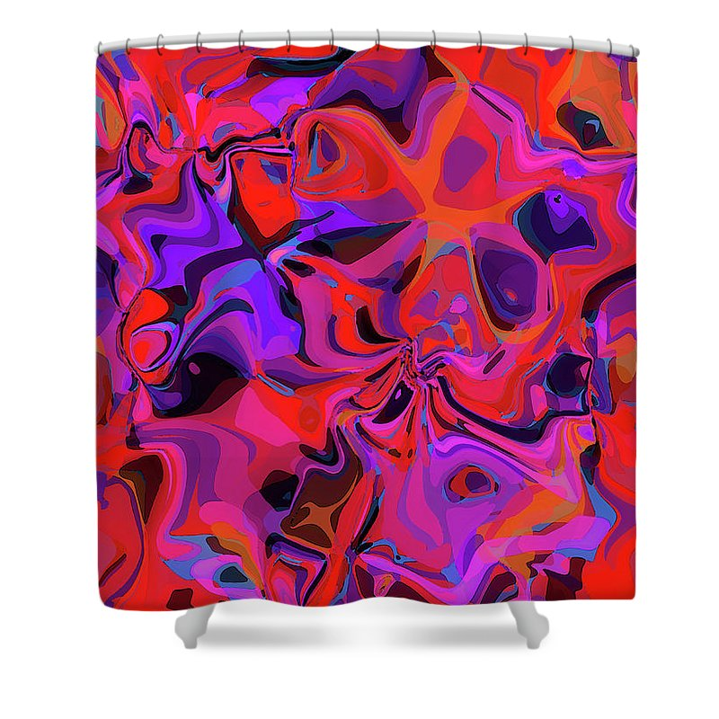Modern Shower Curtain featuring the digital art Frenetic by ME Kozdron