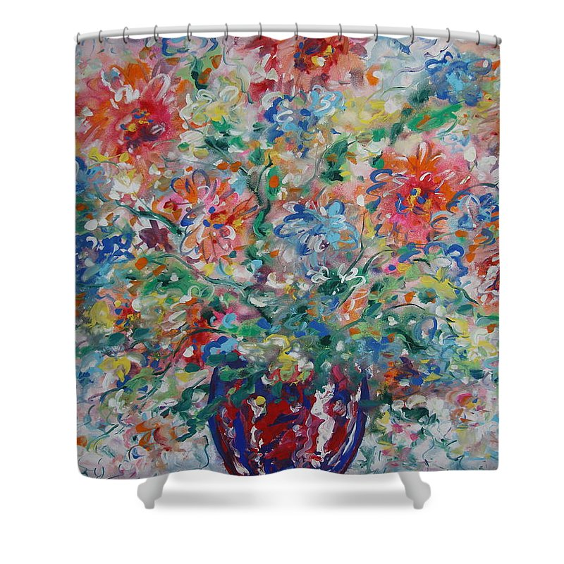 Flowers Shower Curtain featuring the painting Fresh Bouquet by Leonard Holland