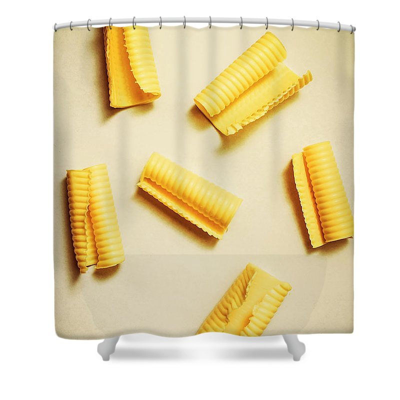 Yellow Shower Curtain featuring the photograph Fresh Butter Curls On Table by Jorgo Photography - Wall Art Gallery