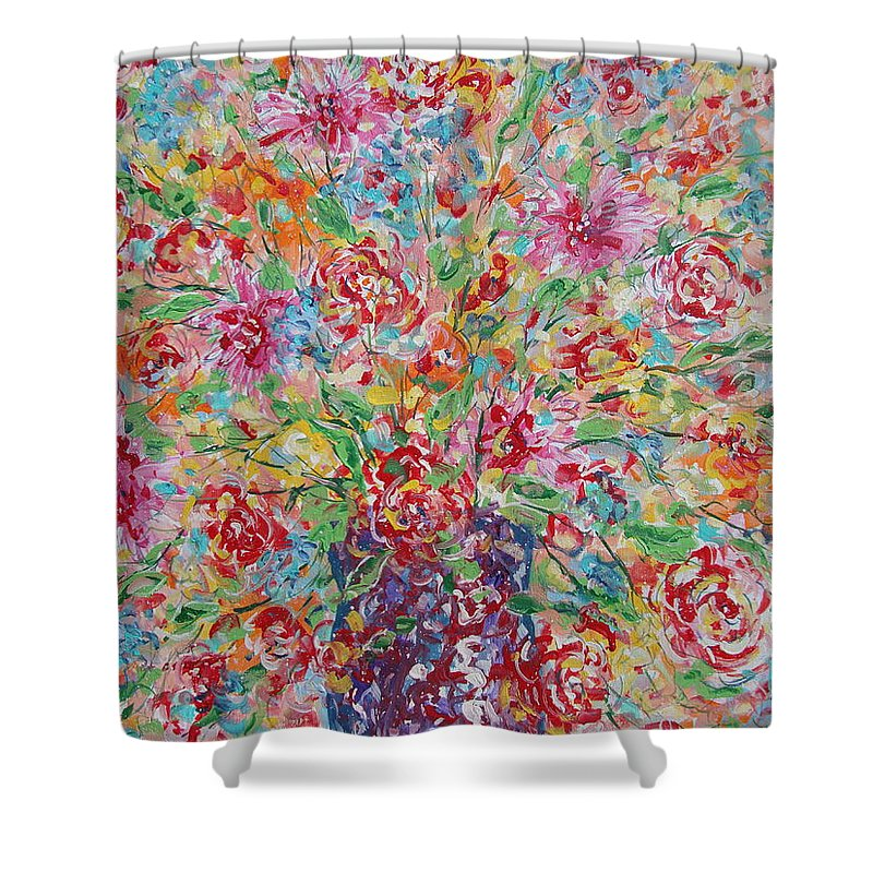 Painting Shower Curtain featuring the painting Fresh Flowers. by Leonard Holland