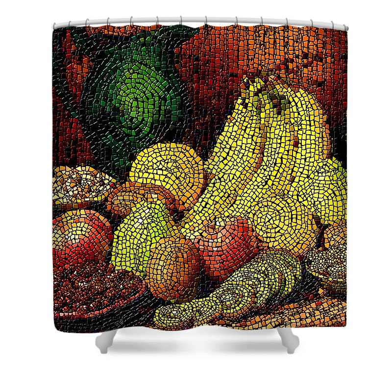 Fruit Shower Curtain featuring the digital art Fresh Fruit Tiled by Stephen Lucas