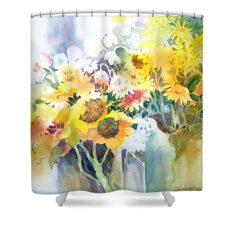 Contemporary;watercolor;sunflowers;daisies;floral; Shower Curtain featuring the painting Fresh-picked by Lois Mountz
