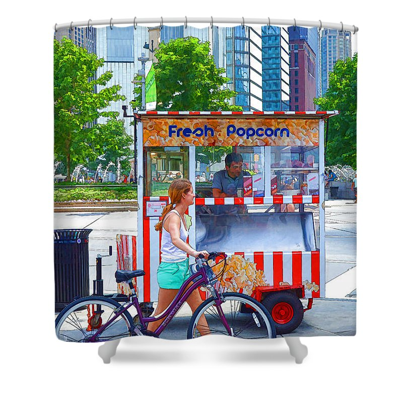 Popcorn Shower Curtain featuring the painting Fresh Popcorn by Jeelan Clark