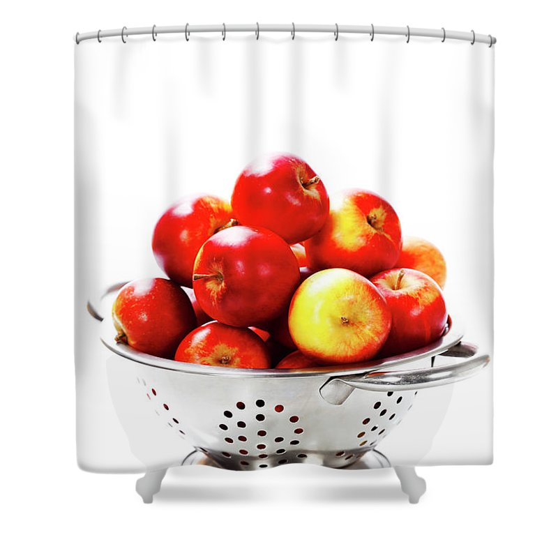 Agriculture Shower Curtain featuring the photograph Fresh Red Apples In Metal Colander by Natalia Klenova