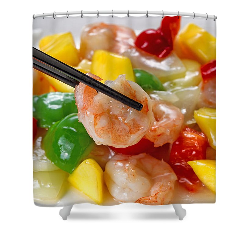 Shrimp Shower Curtain featuring the photograph Fresh Shrimp And Peppers On White Serving Plate Ready To Eat by Thomas Baker