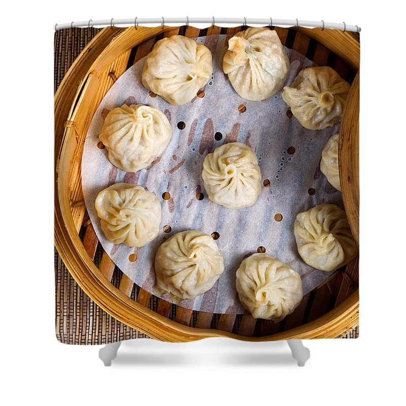 Chinese Shower Curtain featuring the photograph Freshly Cooked Dumplings Inside Of Bamboo Steamer Ready To Eat by Thomas Baker