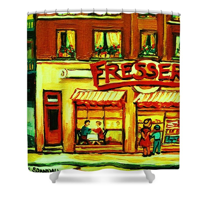 Fressers Shower Curtain featuring the painting Fressers Takeout Deli by Carole Spandau