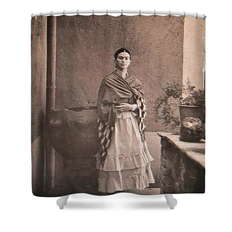 Frida Kahlo Shower Curtain Featuring The Photograph Standing By Large Planter Donna Wilson