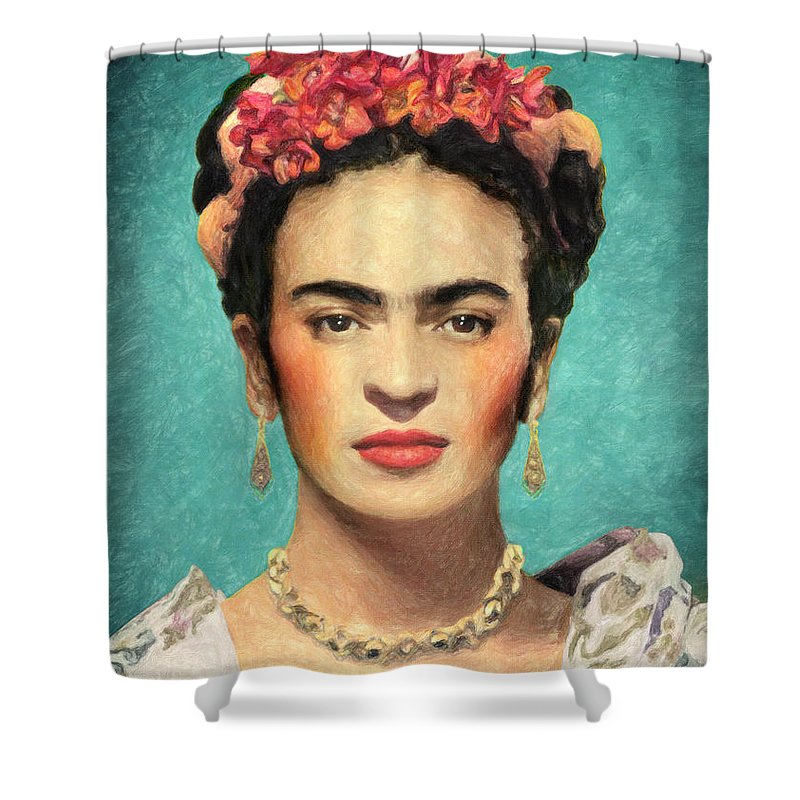 Frida Kahlo Shower Curtain Featuring The Painting By Zapista