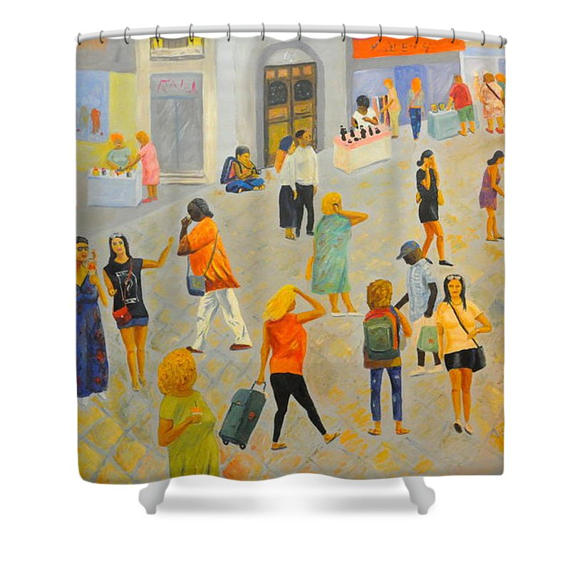 People Shower Curtain featuring the painting Friday In Tel Aviv by Asher Topel