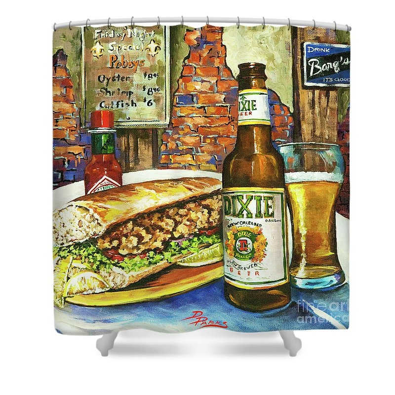 New Orleans Shower Curtain featuring the painting Friday Night Special by Dianne Parks