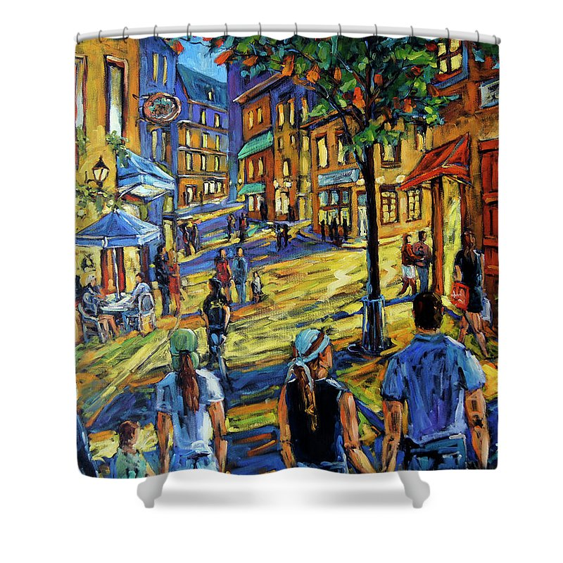 Art Shower Curtain featuring the painting Friday Night Walk Prankearts Fine Arts by Richard T Pranke